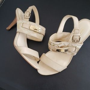 COACH monogram gold buckle heel sandal 6.5